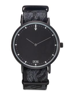 【ZALORA】 設計印花紡織帶圓框手錶