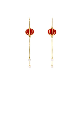 Glamorousky silver 925 Sterling Silver Plated Gold Simple Temperament Lantern Tassel Round Bead Earrings BC4BFACCB40CC0GS_1