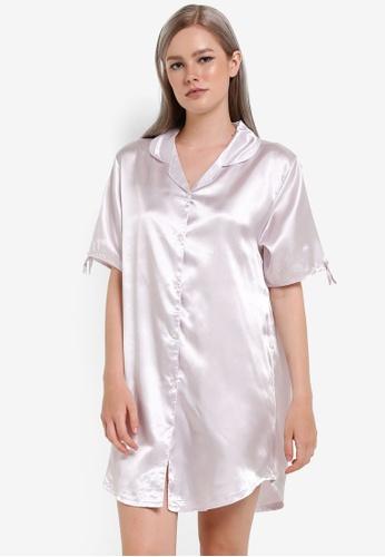 Impression silver Satin Pajama Shirt Dress IM679AA60VRFMY_1