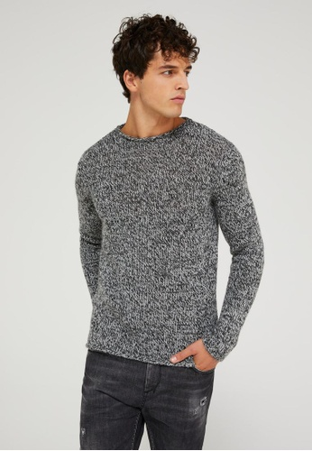 Sisley grey Patterned Sweater E6AABAA4F05259GS_1