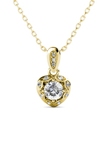 Her Jewellery Love Hook Pendant (Yellow Gold) - Made with premium grade crystals from Austria 8E95EAC926849BGS_1