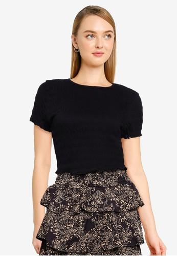 Vero Moda black Short Sleeve Crop Top B19BFAA9E8025EGS_1