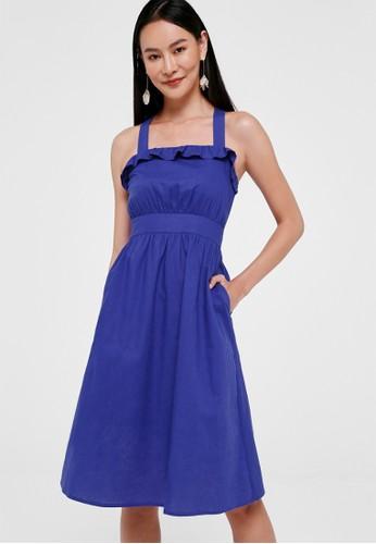 Love, Bonito blue Leyla Cross Back Linen Dress E15B9AA6067903GS_1