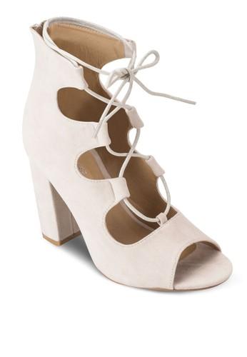 繫帶露趾粗跟踝靴esprit holdings limited, 女鞋, 鞋