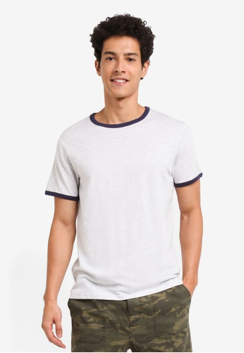 Burton Menswear London grey Short Sleeve Frost And Navy Ringer T-Shirt F43F8AAC8C7A36GS_1