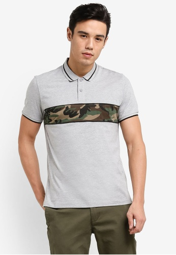 JAXON grey Camo Panel Polo Shirt 31431AA9FD7EFBGS_1