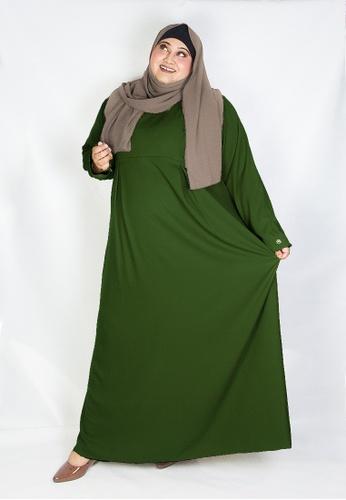 Zaryluq green Curve Pleated Dress in Matcha 2A6A7AA0264A87GS_1