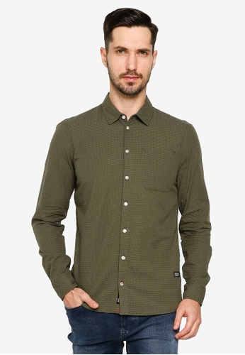 BLEND green Textured Slim Fit Shirt 31C38AA31430AAGS_1