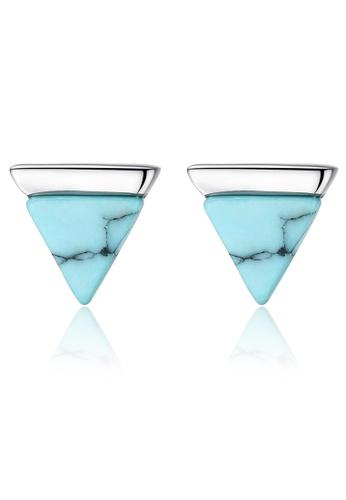 SUNRAIS silver Premium Silver S925 silver triangle earrings D1D12AC2FFA266GS_1