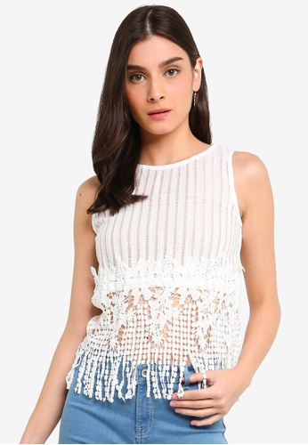 b89be2e44bba7 Buy OVS Striped Weave And Lace Top Online on ZALORA Singapore