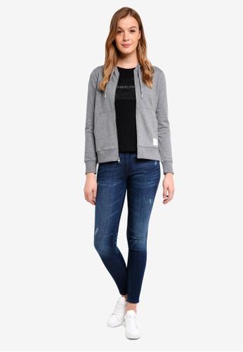 Calvin Klein grey Long Sleeve Fa Graphic Hoodie - Calvin Klein Jeans 4669CAA9A297EFGS_1