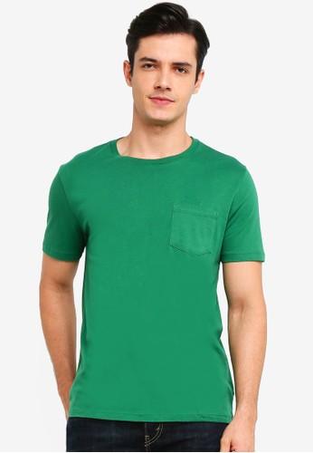 GAP green Everyday Pocket Crew T-Shirt 0B628AABC5DB4EGS_1