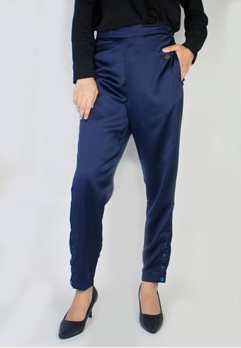 Zaryluq blue Slim Button-Down Pants in Celestial 52CF2AAE6819AFGS_1