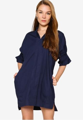 ZALORA WORK 海軍藍色 Notch Neck Fluted Sleeves Dress BD37CAA1831ECCGS_1