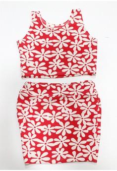 Jane Simple Crop Top and Skirt Set