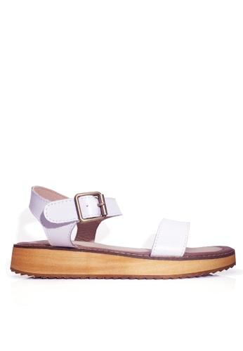 Twenty Eight Shoes 白色 真皮一字帶厚底涼鞋 VS6662 49ACDSH530603AGS_1