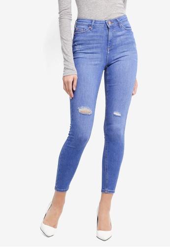 Miss Selfridge blue Ripped Lizzie Jeans 9FF86AA90B8321GS_1