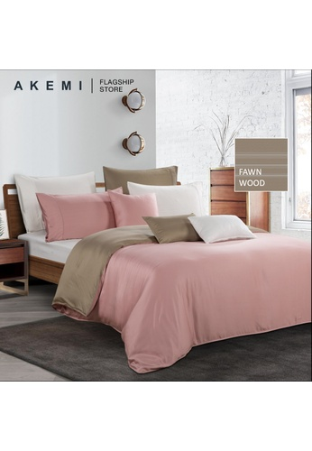 AKEMI brown Akemi Tencel Modal Earnest - Adleya Fawn Wood Fitted Sheet Set. D4F0AHL3865633GS_1