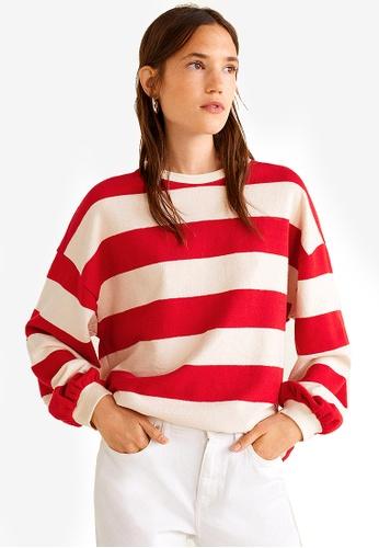 Mango red Striped Cotton-Blend Sweatshirt 27318AA61609CBGS_1