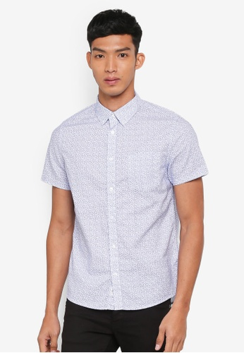 Burton Menswear London white Short Sleeve White And Blue Ditsy Triangle Shirt 144D7AA6808482GS_1