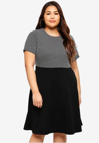Dorothy Perkins 黑色 Plus Size Spot Jacquard 2 In 1 70567AA65CD0E2GS_1
