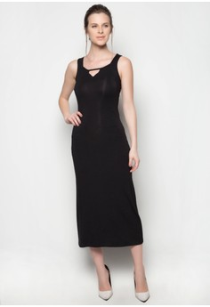 Fatima Maxi Dress X-back Plain