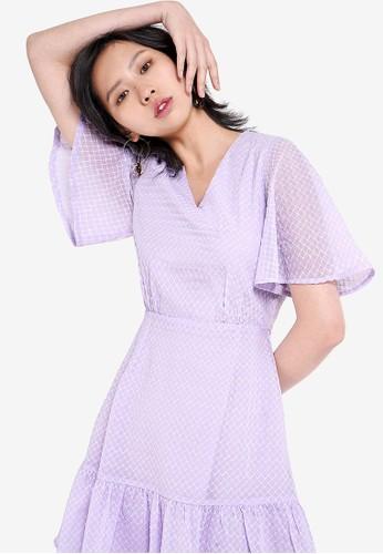 Saturday Club purple Mesh A-Line Dress 72766AA1DC520BGS_1
