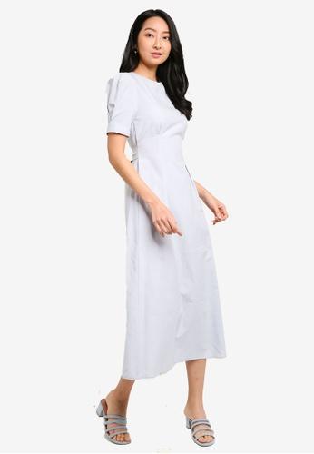 ZALORA BASICS grey Puff Sleeve Midi Dress CED01AAEA33C5DGS_1