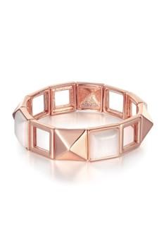Treasure by B&D B115 Plated Geometric Chain Flexible Adjustable Chain Bracelet Bangle