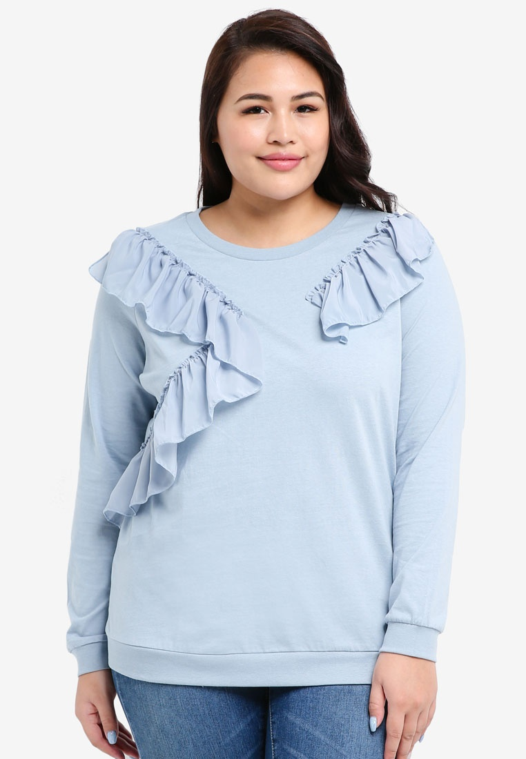 Ashley NY Insert Size Blue Junarose Woven Top Sweat Plus EvxwwXf8