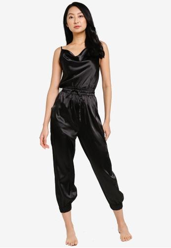 ZALORA BASICS black Lounge Cowl Neck Jumpsuit 61A01AA277EF2DGS_1