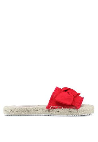 Miss Selfridge 紅色 扭結草編拖鞋 49E18SH0808EA7GS_1