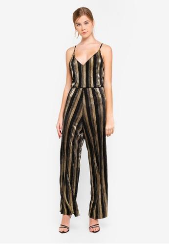 Miss Selfridge 銀色 Gold Stripe Plisse Jumpsuit 1B244AA969EE11GS_1
