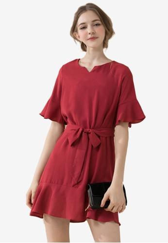 Eyescream red Flare Sleeves Waist Tie Dress 9FD4FAAC272E65GS_1