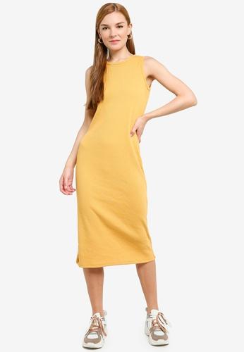 UniqTee 黃色 Cotton Sleeveless Drop Hem Midi Dress 374CFAAA89E372GS_1