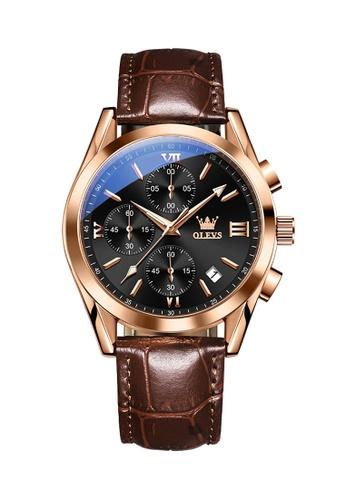 OLEVS brown Olevs Grand Lumino Men Chronograph Wrist Watch 7FABCAC5AD4CA6GS_1