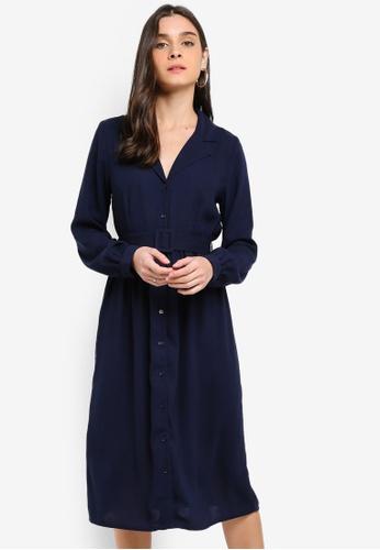 b4a5675459d Vero Moda navy Vicki Calf Shirt Dress 11B16AADD2F664GS 1