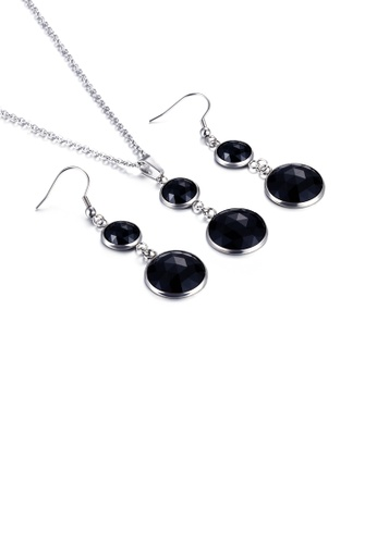 Glamorousky black Fashion and Elegant Geometric Round Black Cubic Zirconia 316L Stainless Steel Necklace and Earring Set 93EA7ACBD167DAGS_1