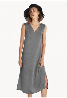 c5a616cc0998 Pomelo grey Midi Side Slits Loose Dress - Grey F8709AA391A9BAGS 1
