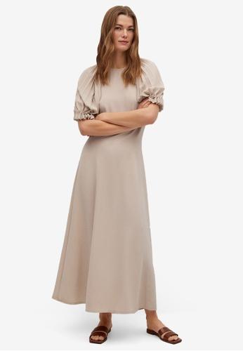 Mango brown Pleated Sleeve Dress 080BCAAE5FA80BGS_1