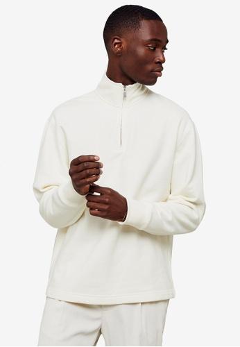 Topman white 1/4 Zip Sweatshirt 0E9CAAA0044766GS_1