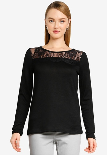 Springfield black Lace Neckline T-Shirt 638ECAA17E54DAGS_1