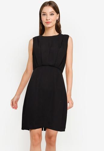 ZALORA WORK black Pleat Detail Mini Dress 1A07AAA217E42CGS_1