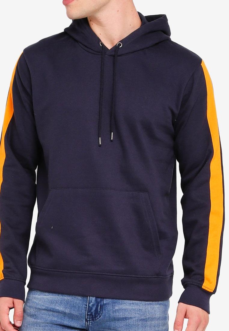 Hooded Hoodie Side Dark Orange Stripe Basic Soul with Brave Navy d5q6dBpw
