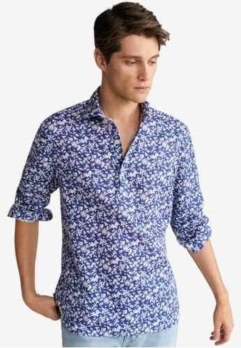 Mango Man 藍色 印花亞麻襯衫 A8566AA66F4F1CGS_1