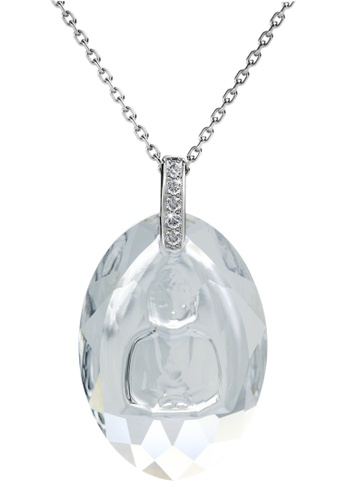 Her Jewellery silver Crystal Buddha Pendant (White Gold) - Licensed Genuine Crystals from Swarovski® HE581AC0RCCVMY_1