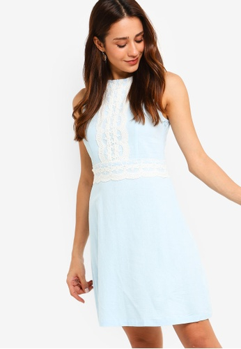 ZALORA blue Lace Fit And Flare Dress B4635AA54055A9GS_1