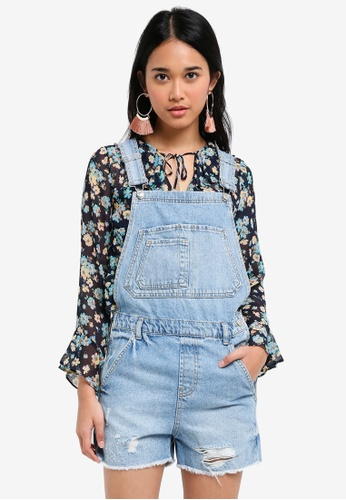 TOPSHOP blue Moto Shorts Denim Dungaree 73C2AAAFCCCF78GS_1
