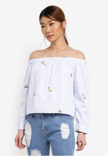 Something Borrowed white Button-Down Off Shoulder Top 0D230AA30D04C8GS_1