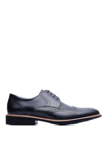 Life8 black Lightweight Wax Cow Leather Embossing Derby Shoes-09215-Black LI283SH18KVPSG_1